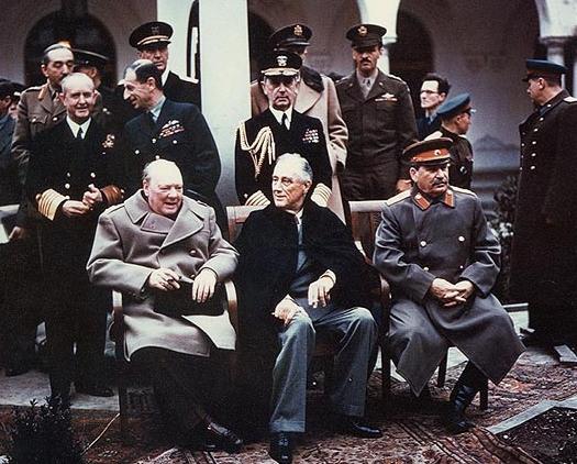 Ялтинская конференция.Черчилль,Рузвельт,Сталин. Фото