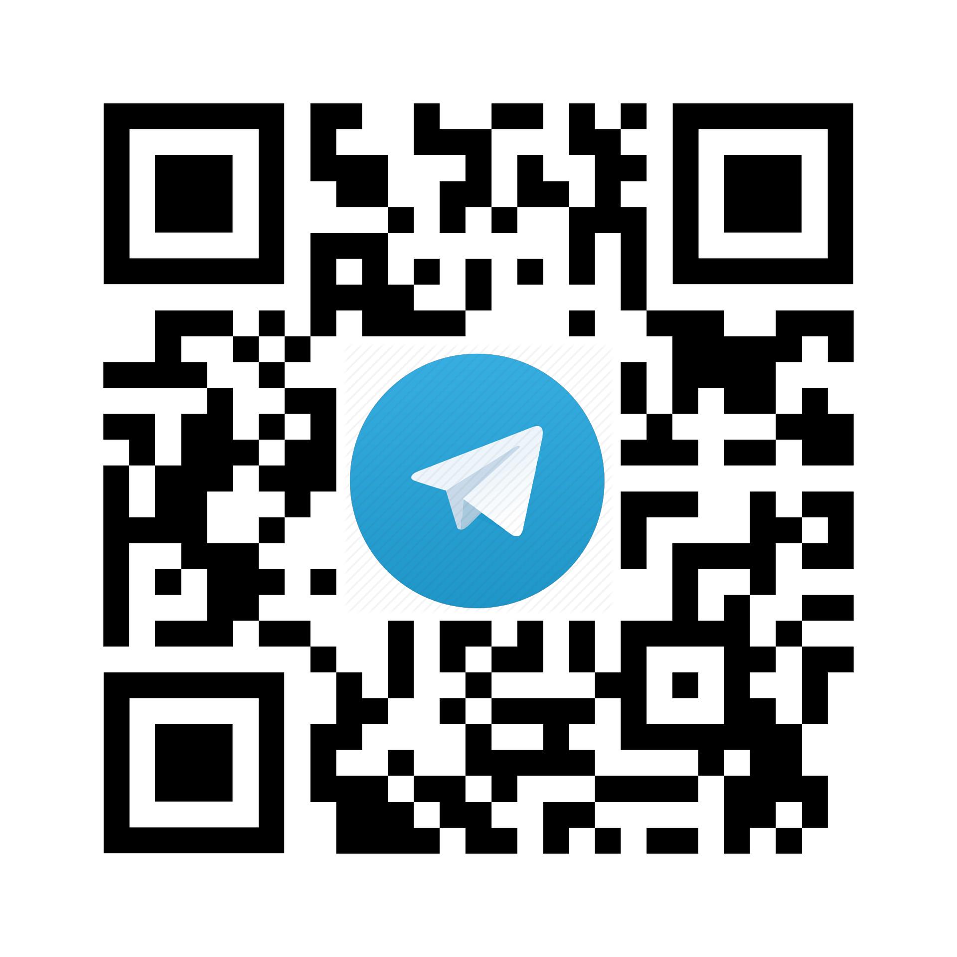 Логотип Telegram на фоне qr кода